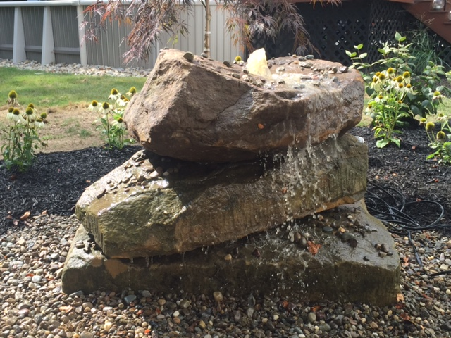 Barnstone Fountainscape Landscape Water Feature in Hamden Ohio