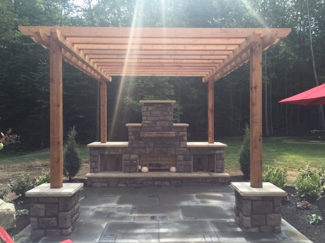 Cedar Pergola Bluestone Patio Landscaping near Cleveland Ohio