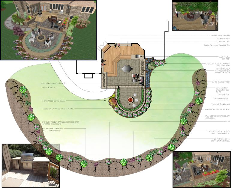 Cleveland Backyard Landscape Design with Deck, Outdoor Kitchen, FirePit & Patio