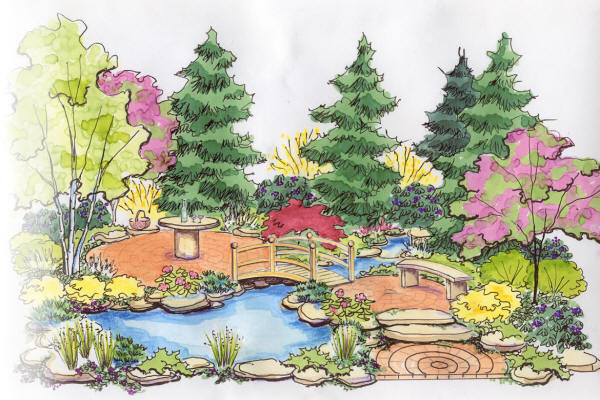 Landscape Design Drawing for Cleveland Botanical Show by H&M Landscaping Company