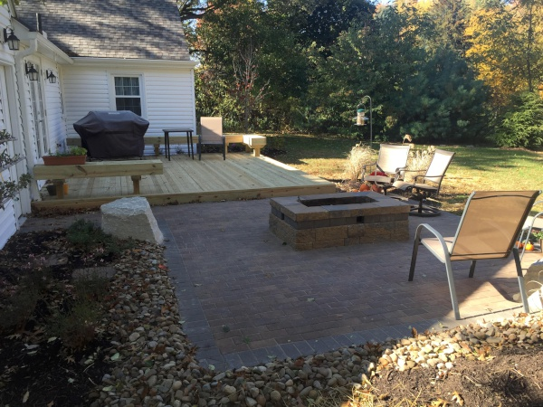 Cleveland Area Landscape Deck with Patio Fire Pit