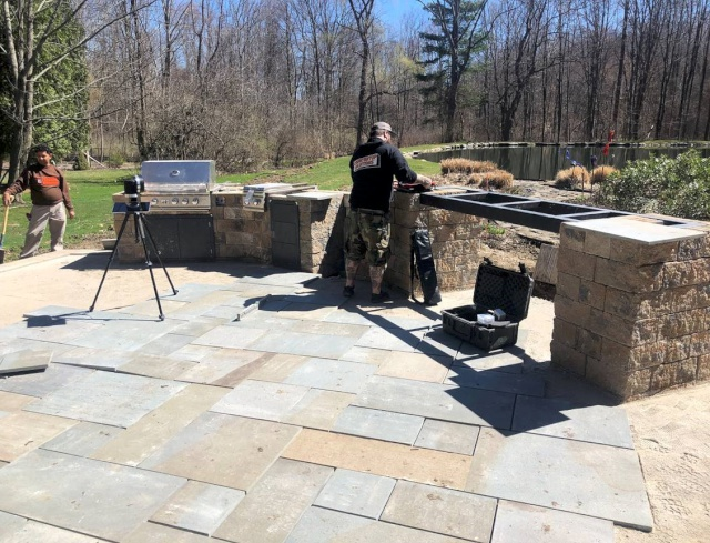 Cleveland Landscapers Install Backyard Outdoor Kitchen with Bar Island