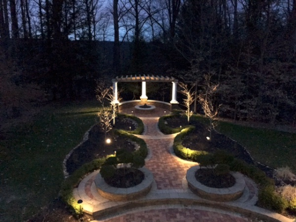 Cleveland's H&M Landscaping Outdoor Fire Pit & Lighting Installation