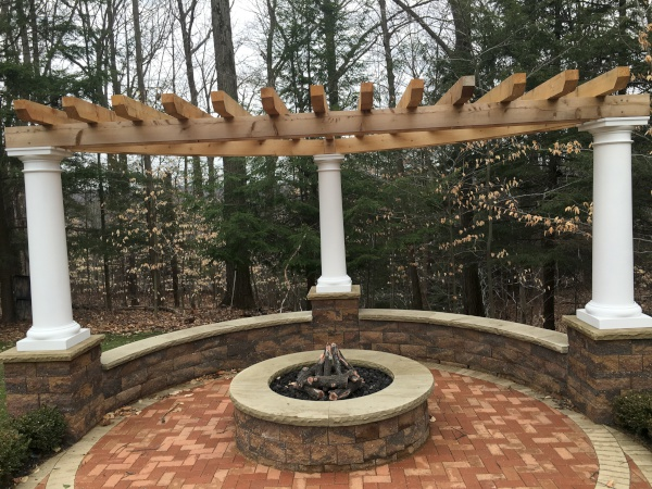 Seating Wall and Pergola Installation near Cleveland