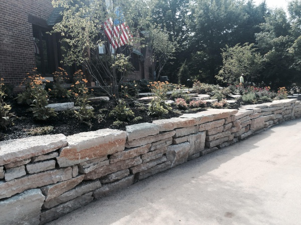 Stone Retaining Wall and Landscape Plantings installed in Pepper Pike near Cleveland Ohio