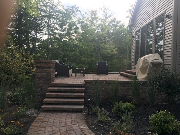 Landscaped Raised Patio Paver Walkway using Versa-Loc