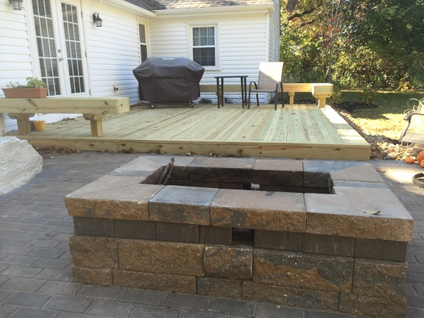 Cleveland Landscaping Deck Custom Benches and Fire Pit