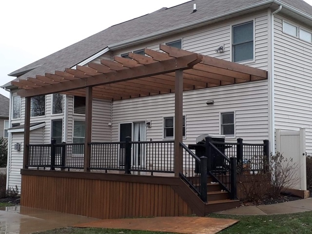 Cedar Pergola Matching Deck Installed by H&M Landscaping