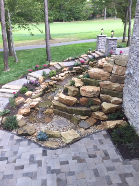 Landscape Outdoor Water Feature Installed by H&M Landscaping in Northeast Ohio