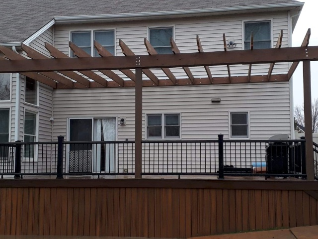 Pergola Covering Timbertech Deck Constructed by H&M Landscaping