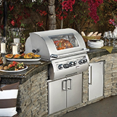 Outdoor Kitchen featuring Fire Magic Grill Installed by H&M Landscaping in Cleveland