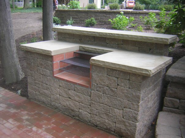 Cleveland's H&M Landscaping Outdoor Kitchen Sandstone Countertop Installation