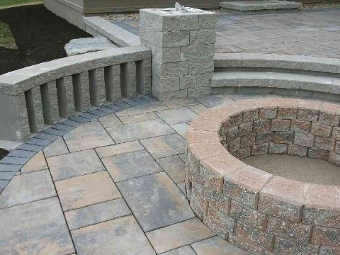 Patio Install with Fire Pit & Seating by H&M Landscaping in Cleveland, Ohio