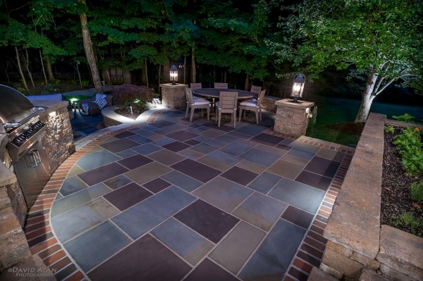 Custom Brick & Paver Patio Work, Featuring Unilock & Belgard, Designed & Installed by H&M Landscaping for Landscape Projects in the Cleveland Area.