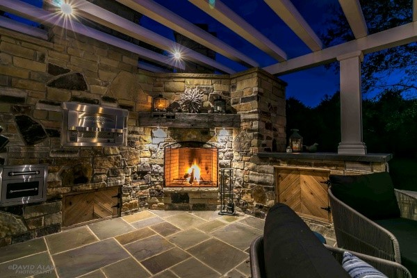 Outdoor Kitchens & Fireplaces in the Cleveland Area Designed & Built for Outdoor Living Spaces by H&M Landscaping.