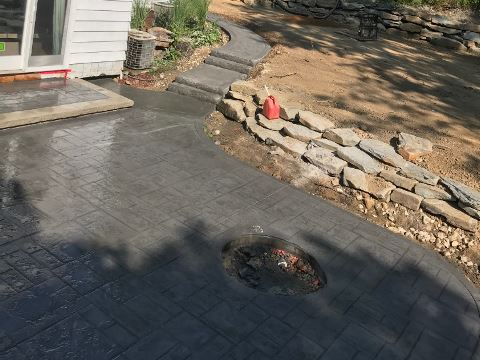 Stamped Concrete Patio Installed by H&M Landscaping