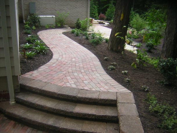 Cleveland's H&M Landscaping Versa-Lok Stone Step Installation